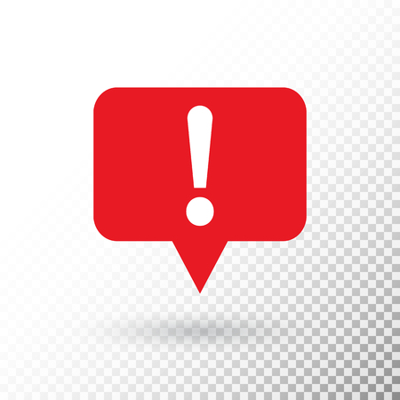 Exclamation mark in red speech bubble. Hazard warning symbol in flat design style. Attention button isolated on transparent background.. Warning sign. Vector illustration. 向量圖像