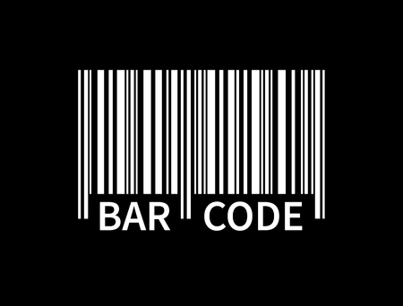 Bar code isolated on black background. White tracking barcode with text. Label information. Product mark. Vector illustration Ilustrace