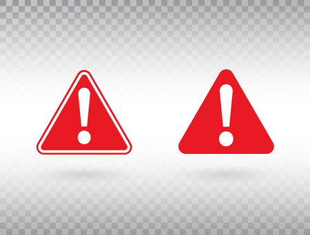 Warning symbol set. Exclamation mark in red triangles. Attention button isolated on transparent background. Warning sign. Exclamation mark icon in flat style. Vector illustration 向量圖像