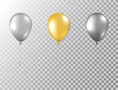 Helium balloons set isolated on transparent background. Glossy foil gold, silver and black festive balloons. Baloon mockup for anniversary, birthday party, wedding, grand opening. Vector illustration.