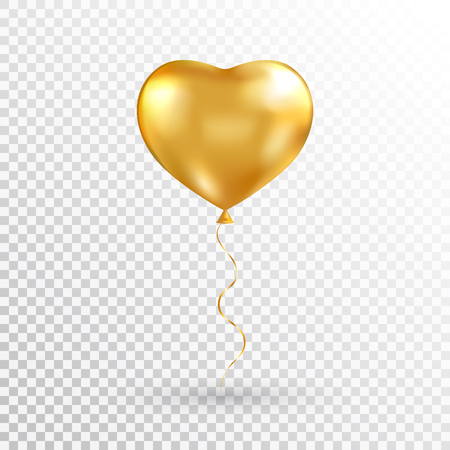Gold heart balloon on transparent background. Foil air balloon for party, Christmas, Birthday, Valentines day, Womens day, wedding, grand opening. Glossy shine helium balloon. Vector illustration. Illustration