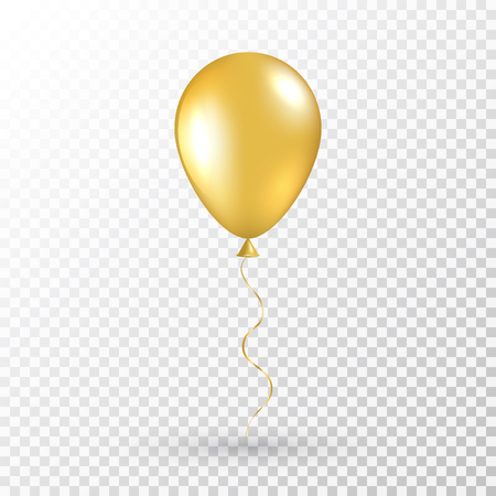 Gold balloon on transparent background. Realistic air baloon for party, Christmas, Birthday, Valentines day, Womens day, wedding, grand opening. Glossy shine helium balloon. Vector illustration.
