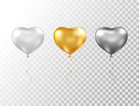 Helium heart balloons set isolated on transparent background. Foil glossy gold, silver and black festive balloons. Baloon for anniversary, birthday party, wedding, grand opening. Vector illustration Çizim
