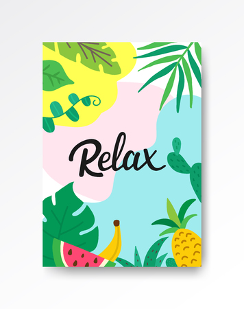 Relax tropical poster A4. Hand drawn lettering with leaves and fruits. Summer holiday concept. Tropical vacation banner. Creative tropical design for web or advertisement. Vector illustration. Vectores