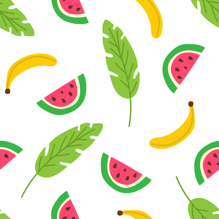 Tropical fruits and leaves seamless pattern. Summer background with watermelon slices and banana. Modern template for print, banner. Vector illustration Ilustrace