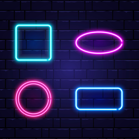 Neon banners set. Color neon frames on brick wall. Realistic glowing night signboard. Shining neon effect. Night bright advertising. Vector illustration.
