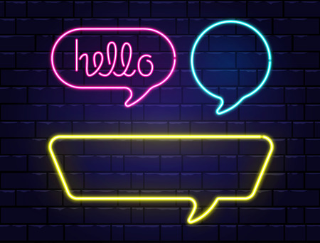 Neon speech bubbles set with space for text. Hello neon lettering. Realistic color neon banners isolated on brick wall background. Glowing night signboard. Light electric borders. Vector illustration. Ilustração