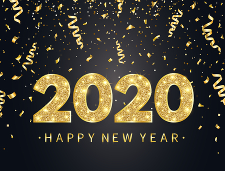 2020 Happy New Year background with gold confetti, glitter, sparkles and stars. Happy holiday backdrop with bright golden text and numbers. Luxury festive design for greeting card. Vector illustration.