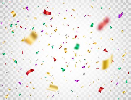Buntes Konfetti, das auf transparenten Hintergrund fällt. Glänzendes festliches Konfetti und Lametta. Helle Partykulisse. Urlaubsgestaltungselemente für Webbanner, Poster, Flyer, Einladung. Vektor-Illustration. Vektorgrafik