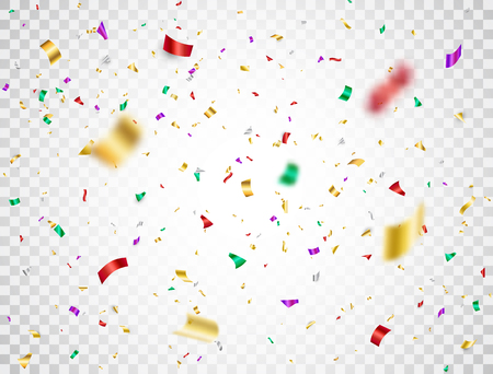 Colorful confetti falling on transparent background. Shiny festive confetti and tinsel. Bright party backdrop. Holiday design elements for web banner, poster, flyer, invitation. Vector illustration. Vektorové ilustrace