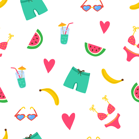 Summer beach pattern with swimsuits, watermelon pices, banana, coctail, hearts. Summer vibes texture. Modern bright template for print, banner cards. Vector illustration.