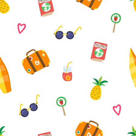 Travel summer pattern with hand drawn pineapple, sunglasses, suitcase, pink hearts, passport, cocktail, lollipop, surfboard. Modern template for print banner card. Vector illustration.