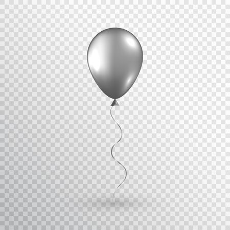 Gray realistic balloon isolated on transparent background. Silver balloon. Glossy helium balloon for wedding, birthday party, grand opening, sale promotion. Vector illustration.