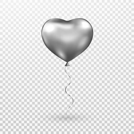Heart gray balloon on transparent background. Silver helium glossy balloon. Realistic foil baloon for party, Christmas, Birthday, Valentines day, Womens day, wedding. Vector illustration Vector Illustration