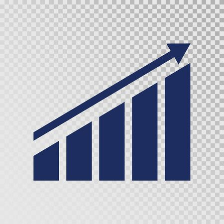 Growth icon. Growing bar graph template on transparent background. Business progress. Finance, career grows concept. Vector illustration