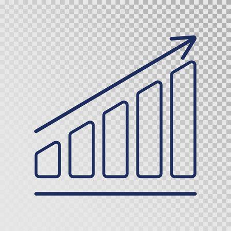 Growth template. Business progress. Growing bar graph icon on transparent background. Finance, career grows concept. Vector illustration Ilustração