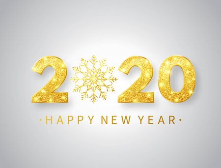 2020 Happy New Year background with glitter golden numbers and snowflake. Gold glitter, sparkles and stars. Luxury bright festive design for greeting card, banner, poster. Vector illustration. Stock Illustratie