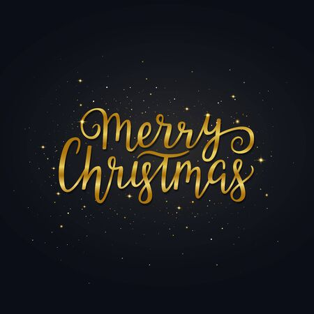 Merry Christmas gold hand drawn lettering. Bright golden xmas..