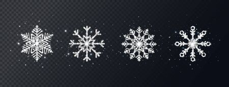 Silver glitter snowflakes set on transparent background. Shining Christmas design with sparkles and stars. Winter holiday luxury decoration for cards, invitation, poster, banner. Vector illustration.