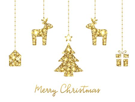 Glitter gold hanging christmas tree, deers, house, gift box. Unique hand lettering Merry Christmas. Sparkling holiday decoration. Luxury party border. Vector illustration