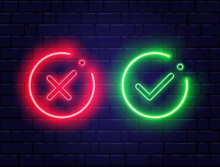 Neon check mark and red cross on brick wall. Green tick and decline symbol in circle shapes. Accept and reject. Right and wrong. Bright neon design for games, app, web page. Vector illustration