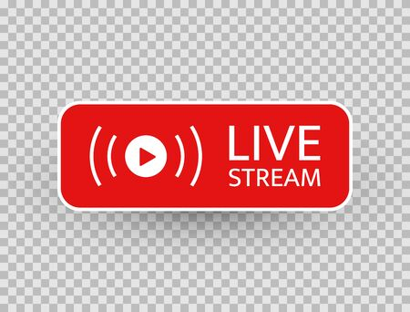 Live stream icon. Live streaming, video, news symbol on transparent background. Social media template. Broadcasting, online stream button. Social network sign. Vector illustration.