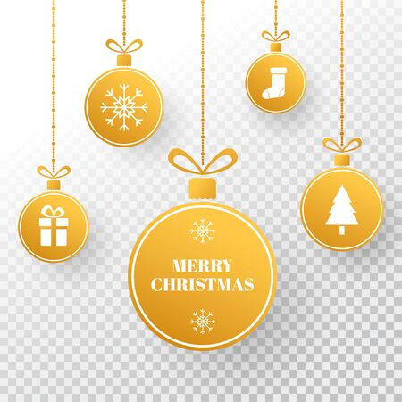Christmas gold bauble. Winter holiday tag. Bright golden xmas balls with christmas tree, present, snowflakes, ribbon and sock. New year holiday card. Vector illustration. Ilustração