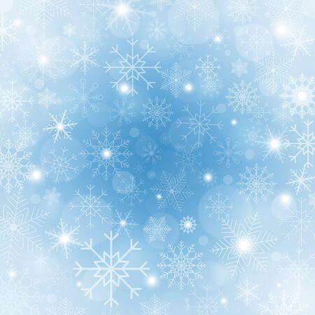 Priorità bassa blu di inverno con i fiocchi di neve. Cornice natalizia luminosa con fiocchi di neve, scintillii e stelle. Modello di vacanza invernale. Progettazione del nuovo anno. illustrazione vettoriale Vettoriali
