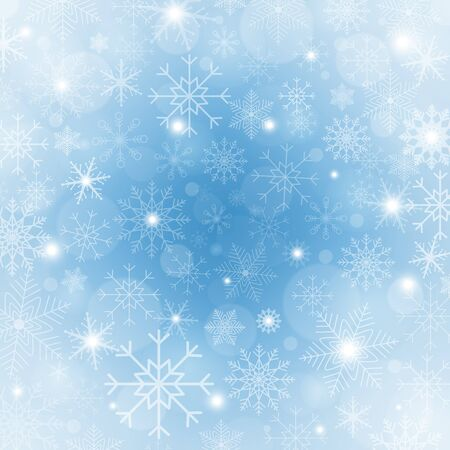 Winter blue background with snowflakes. Bright Christmas frame with snowflakes, sparkles and stars. Winter holiday template. New year design. Vector Illustration Vector Illustratie