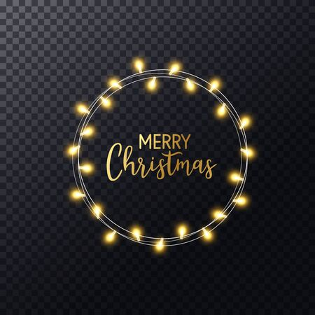 Christmas lights wreath with hand lettering Merry Christmas. Glowing gold xmas garland. Luxury frame. Holiday design for greeting card, banner, poster, invitation. Vector illustration.