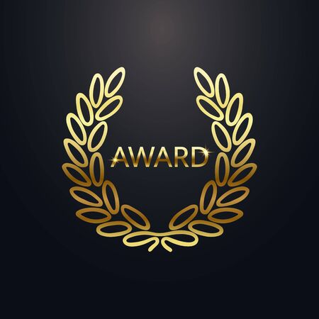 Award laurel with text. Gold laurel wreath on dark background. Rewarding the best. Luxury emblem for winner. Symbol of victory, triumph and success. Vector illustration