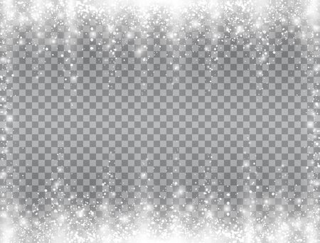 Snow falling frame. Bright magic Christmas design on transparent background. Glitter snowflakes, sparkling snowfall and glowing particles. Winter backdrop with realistic snow. Vector illustration. Standard-Bild - 134628811