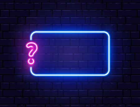 Neon quiz banner. Glowing question mark. Color neon banner on brick wall. Realistic bright night signboard. Shining neon effect. Vector illustration