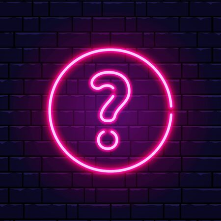 Neon question mark. Glowing pink question sign. Color neon banner on brick wall. Realistic bright night signboard. Shining neon effect. Vector illustration