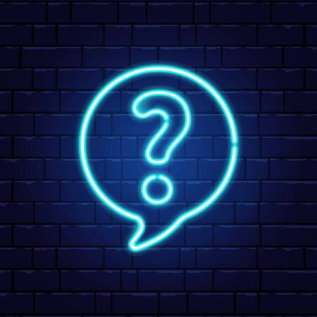 Neon question mark in speech bubble. Glowing blue question sign. Color neon banner on brick wall. Realistic bright night signboard. Shining neon effect. Vector illustration