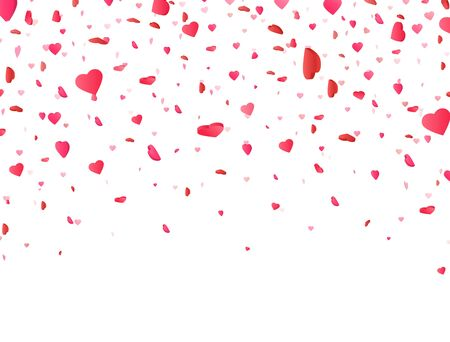 Heart confetti falling on white background. Valentines Day background with 3d pink and red hearts. Color confetti for greeting cards. Vector illustration.