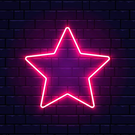 Neon star. Bright pink star frame on brick wall background with backlight. Realistic glowing night signboard. Retro star sign. Vector illustration. Banco de Imagens - 138016018