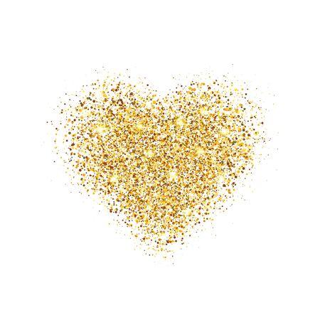 Brokatowe złote serce na białym tle. Świecące serce z iskierkami i gwiezdnym pyłem. Luksusowy projekt wakacyjny. Karta Walentynki. Romantyczny design z symbolem miłości. Ilustracja wektorowa.