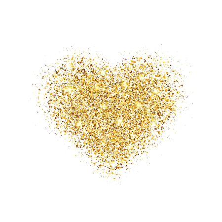 Glitter gold heart isolated on white background. Glowing heart with sparkles and star dust. Holiday luxury design. Valentines Day card. Romantic design with symbol of love. Vector illustration.