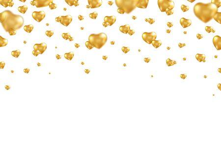 Gold balloon heart frame. Bright helium balloons. Valentine's day card. Golden heart shaped air ballon. Romantic frame. Vector illustration.