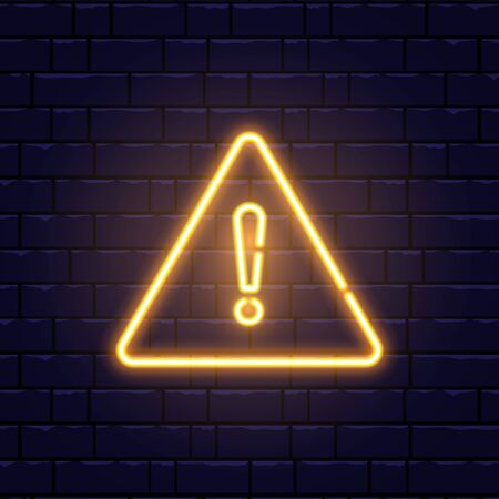 Caution neon sign on brick wall. Glowing gold exclamation mark icon. Warning symbol. Attention button. Realistic night signboard. Night bright advertising. Vector illustration. Ilustração Vetorial
