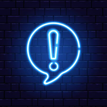 Neon exclamation mark. Glowing quiz banner. Color neon banner on brick wall. Realistic bright night signboard. Exclamation mark frame. Vector illustration.