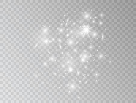 White glowing lights wave isolated on transparent background. Magic glitter dust particles border. Star burst with sparkles. Shining flare. Vector illustration.