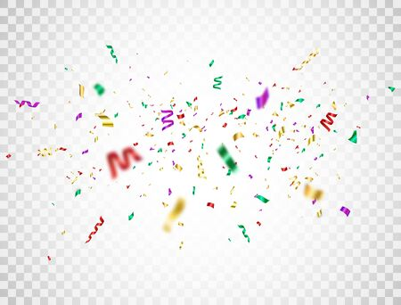 Confetti color explosion on transparent background. Falling colorful confetti. Bright festive tinsel. Party backdrop. Holiday design elements for web banner, poster, flyer, invitation. Vector illustration Foto de archivo - 143690188