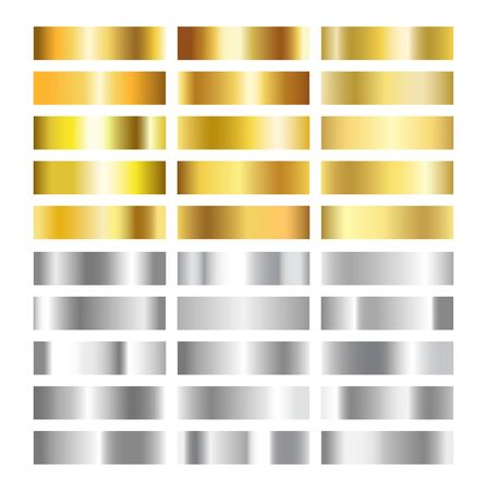 Gold and silver gradient texture collection. Golden and gray foil background set. Copper, brass, gray chrome metal gradient template. Glitter design for frame, ribbon, coin. Vector illustration Stock Illustratie