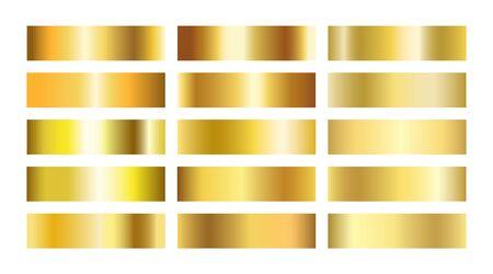 Gold gradient textures collection. Golden foil background set. Copper, brass, metal gradient template. Glitter design elements for frame, ribbon, coin, banner, cards. Vector illustration Stockfoto - 143690227