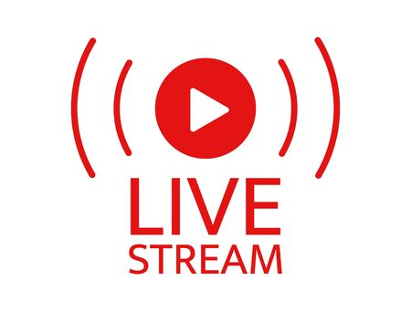 Live stream icon. Live streaming, video, news symbol on transparent background. Social media template. Broadcasting, online stream. Play button. Social network sign. Vector illustration Vetores