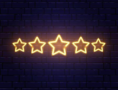 Star rating neon banner. Golden five stars on brick wall. Shining signboard. Night bright advertising. Vector illustration
