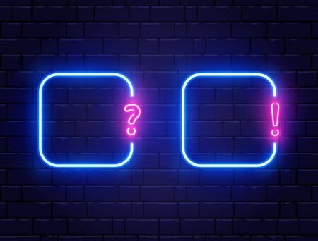 Neon quiz banner set. Glowing question and exclamation mark. Color neon banner on brick wall. Realistic bright night signboard. Shining neon effect. Vector illustration Illustration