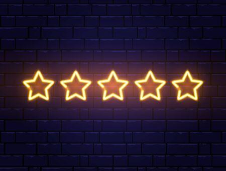 Star rating neon banner. Golden five stars on brick wall. Night bright advertising. Shining signboard. Vector illustration.